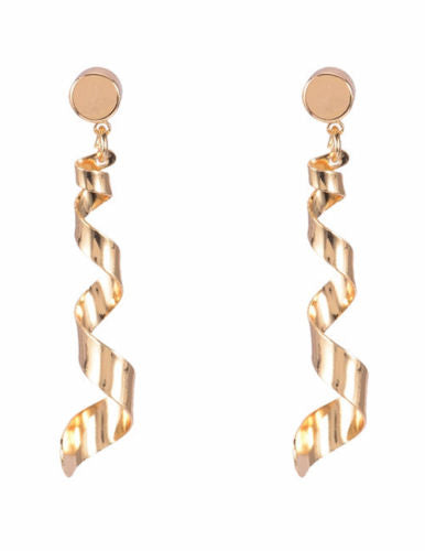 E6 Long Gold Spiral Design Dangle Stud Earrings
