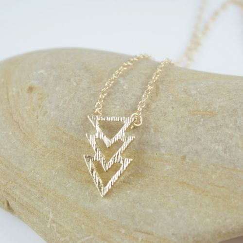 Dainty Gold or Silver Plated Triple Triangle Pendant Chain Necklace