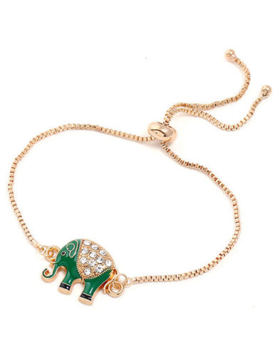 B2 Adjustable Gold Plated Box Chain Green Enamel and Crystals Elephant Bracelet