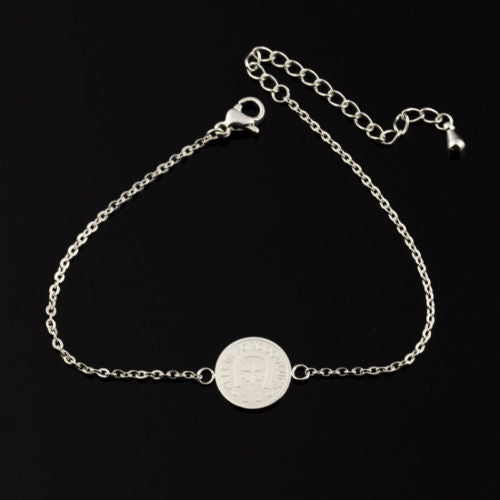 B2 Dainty Lucky Clover Coin Good Luck Charm Bracelet in Gift Pouch