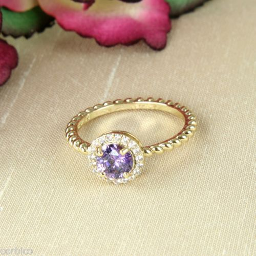18K Gold Plated Ring with Purple Cubic Zirconia Crystals