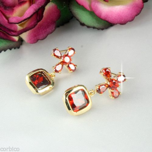 E2 Designer Inspired Gold Plated Red Crystal Cross Stud Earrings