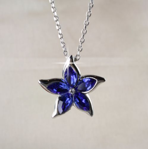 N6 Wedding Prom Bridal Silver Plated Blue Flower Crystal Necklace