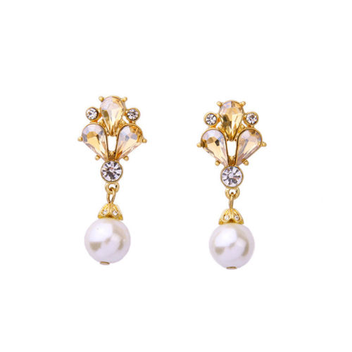 E5 Art Deco Style Gatsby Crystal and Faux Pearl Dangle Stud Earrings