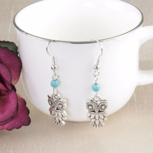 E2 Silver and Turquoise Owl Hook Earrings