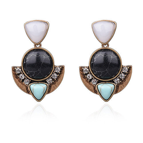 E24 Amaya Geometric Crystal Stone Dangle Stud Earrings