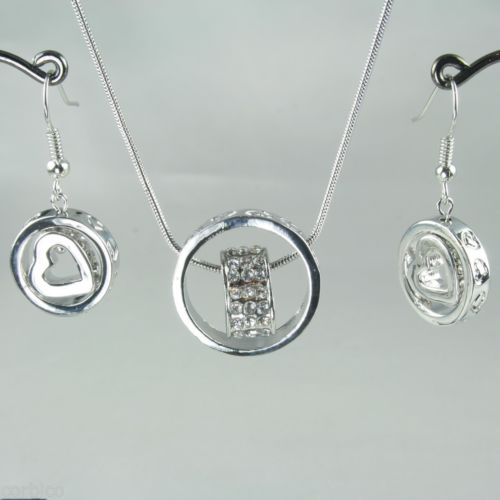 S2 Clear Crystals Love Hearts Ring Pendant Necklace Earrings Set