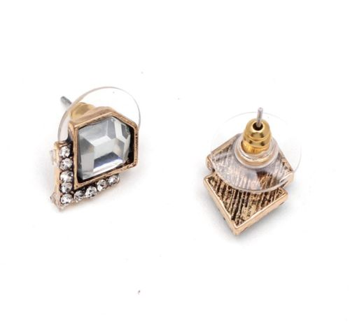 E20 Vintage Deco Style Clear Crystal Geometric Stud Earrings
