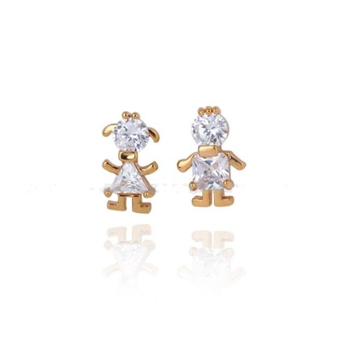 E14 18K Gold Plated Zirconia Crystals Boy and Girl Stud Earrings