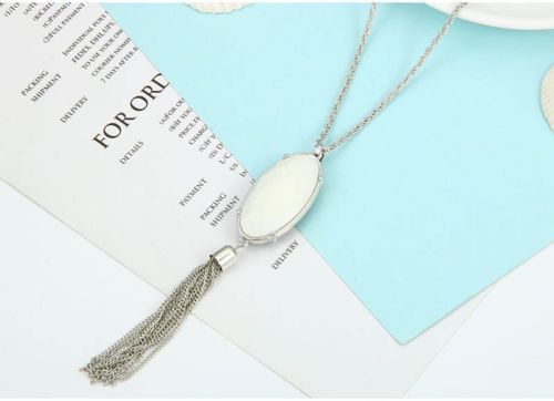 N7 Long Reversible Two Colour Tassel Sweater Pendant Necklace
