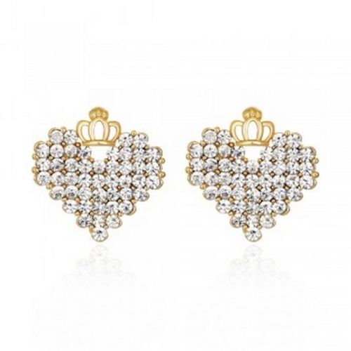 E19 Gold Plated Crystals Heart and Crown Stud Earrings