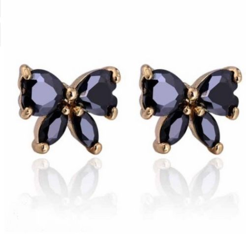 E14 18K Gold Plated Zirconia Crystals Black Butterfly Stud Earrings