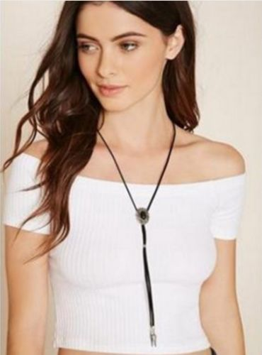 N7 Long Black Suede Leather Costume Tassel Pendant Sweater Necklace