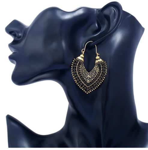 E20 Ethnic Tribal Boho Festival Antique Look Metal Hook Earrings with Gift Pouch