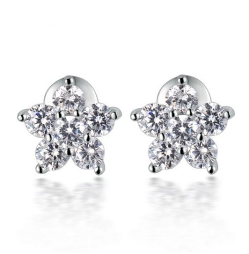 E1 18K White Gold Plated Zirconia Crystals Flower Stud Earrings
