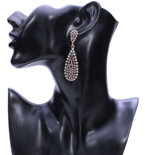 E23 Large Teardrop Beaded Crystals Party Boho Dangle Statement Earrings