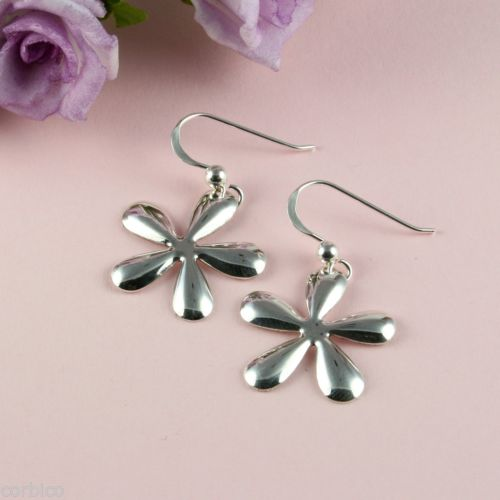925 Sterling Silver Daisy Flower Dangle Hook Earrings