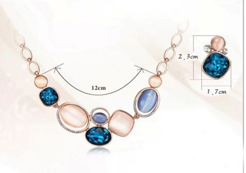 Rose Gold Plated Pink and Blue Catseye Stone Crystals Necklace Earrings Set