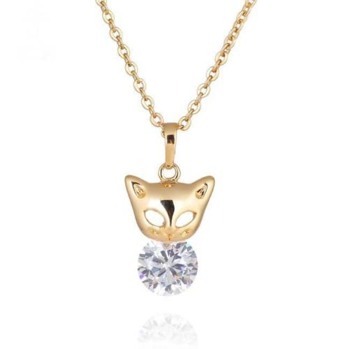N11 18K Gold Plated Cat Kitten Solitaire Crystal Pendant Necklace