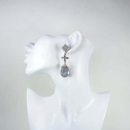 Vintage Glamour Style Crystal Dangle Statement Stud Earrings
