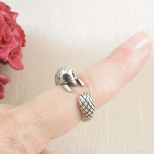 Antique Silver Plated Cute Hedgehog Ring Size N - Adjustable