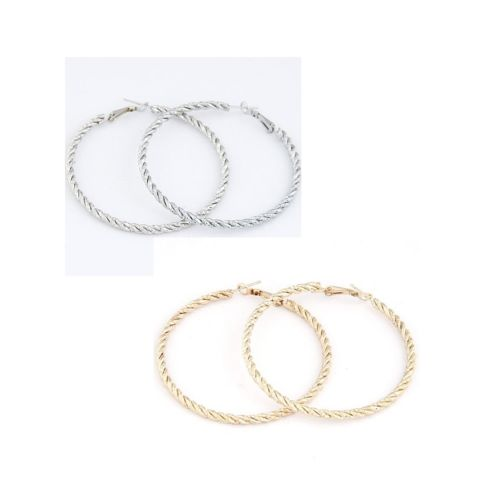 E11 Gold or Silver Plated Twist Hoop Earrings 5.8 cm Diameter