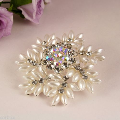 BR1 Wedding Bridal Prom Pearl Crystal Flower Snowflake Corsage Pin Brooch