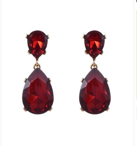 E19 Andrea Large Crystal Dangle Vintage Style Statement Earrings