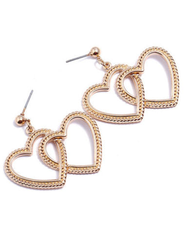 E6 Party Occasion Gold Double Love Heart Design Dangle Stud Earrings