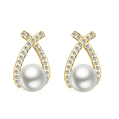 Gold Plated Cross Knot Pearl and Crystal Stud Earrings
