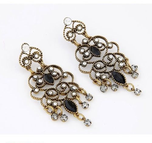 E19 Large Ornate Antique Style Chandelier Statement Dangle Stud Earrings