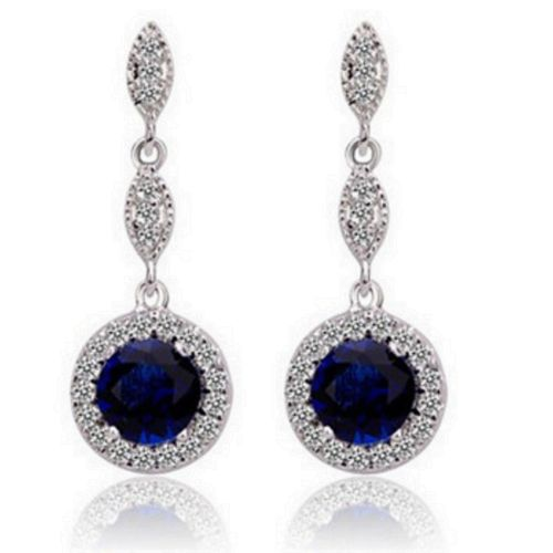 Liz Round Crystal Vintage Glamour Style Dangle Stud Earrings