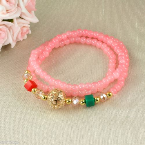 B4 Faux Crystal Prayer Meditation Charm Bead Wrap Bracelet in Pink
