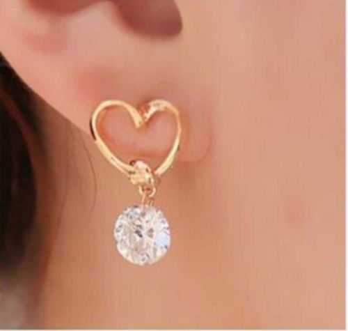 E21 Gold Plated Heart and Dangle Crystal Stud Earrings