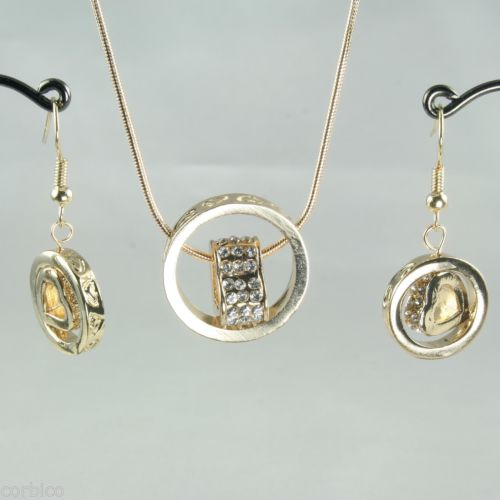 S2 Gold Plated Crystals Love Hearts Ring Pendant Necklace Earrings Set