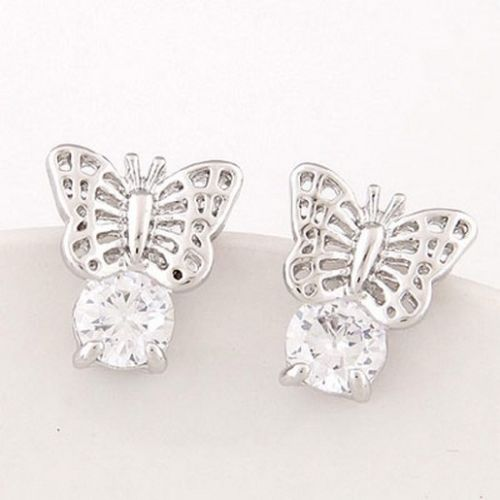 E1 Bridal Wedding Prom Silver Plated Crystal Solitaire Butterfly Stud Earrings