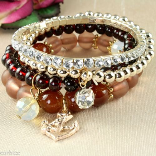 B4 Multi Layer Brown Bead and Crystals Stretch Bracelets