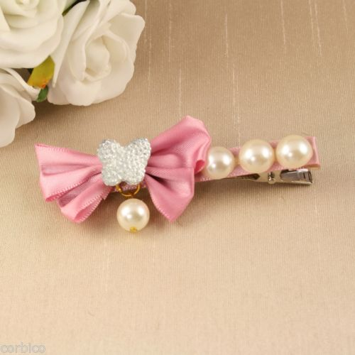 BR1 Wedding Bridal Prom Pearl, Crystal Butterfly Pink Bow Hair Crocodile Clip
