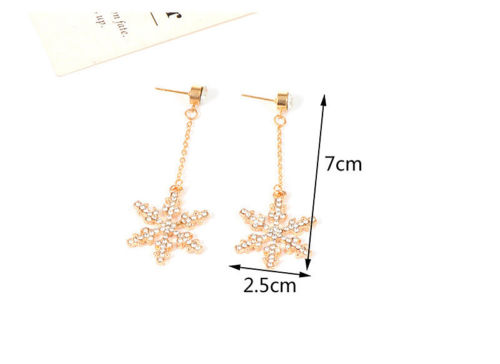 E23 Rose Gold Large Sparkly Crystal Snowflake Chain Dangle Stud Earrings