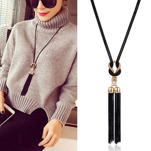 N7 Long Black and Gold Costume Tassel Pendant Sweater Necklace