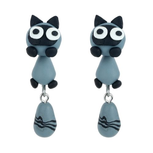 E12 Cute Anime Cartoon Character Clay Dangle Earrings with Gift Pouch