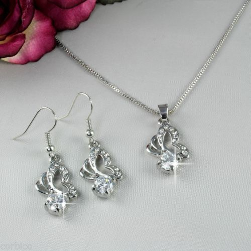 S2 18K Rhodium Plated Crystals Butterfly Pendant Necklace Earrings Set