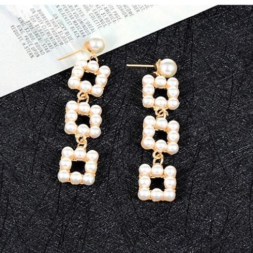 E20 Geometric Square Faux Pearl Dangle Stud Earrings