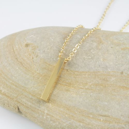 Dainty Gold or Silver Plated Geometric Bar Pendant Chain Necklace