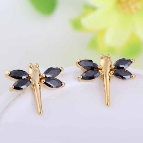 Gold Plated Black Crystal Dragonfly Stud Earrings in Gift Pouch