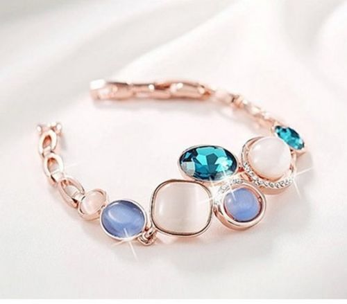 'Louise' Elegant Rose Gold Plated Bracelet with Multi-Colour Crystals
