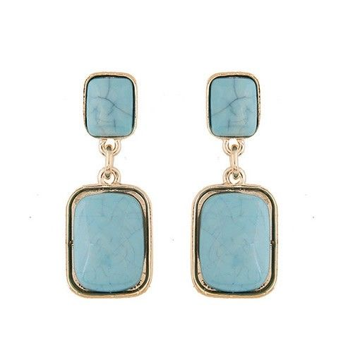 E19 Gold Tone Faux Turquoise Geometric Dangle Stud Earrings
