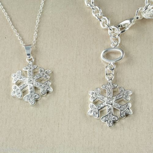 S3 925 Silver Plated Crystal Snowflake Necklace Bracelet Set