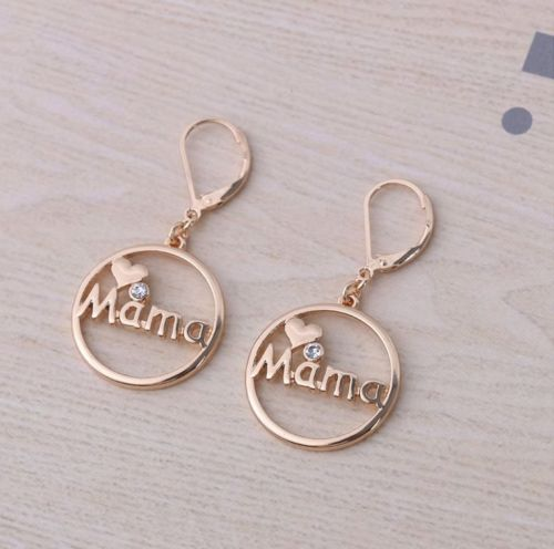 E14 Gold Plated Circle Mum Mother Mama Heart Dangle Leverback Earrings