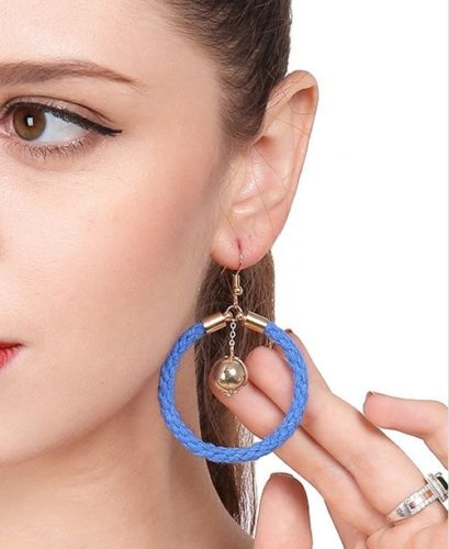 E11 Blue Cotton Cord Hoop and Ball Dangle Hook Earrings